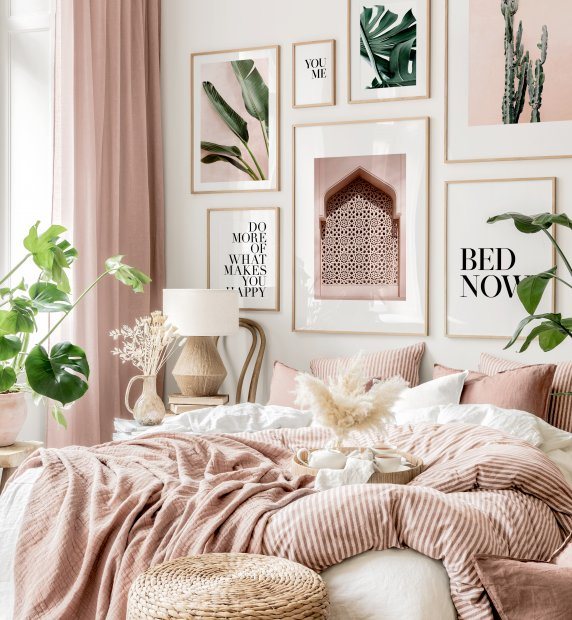 Green meets pink gallery wall botanical prints pink bedroom