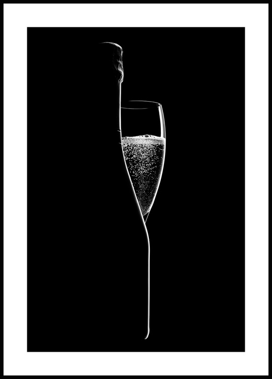 Champagne Silhouette Poster